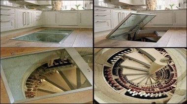 Modern Wine Cellar Ideas - Modern Wine Cellar floor, flooring, stairs, gray, brown