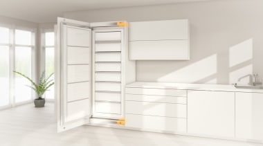 Electrical opening support system for handle-less integrated appliances. furniture, product, shelf, shelving, white