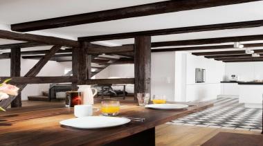 Black and White Kitchen IdeasFor more information, please beam, interior design, loft, white, black