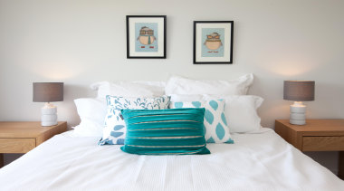 Easy and simple style your guests will love.For bed, bed frame, bed sheet, bedroom, blue, duvet cover, furniture, home, interior design, mattress, room, suite, white, gray