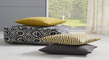 Relaxed and contemporary, Ortega is a decorative collection couch, cushion, duvet cover, furniture, pillow, throw pillow, yellow, white, gray