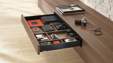 AMBIA-LINE inner dividing system – organization at its coffee table, desk, drawer, floor, flooring, furniture, hardwood, product design, table, brown, white