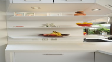 When it comes to shaping forms to follow cabinetry, countertop, interior design, kitchen, room, shelf, shelving, gray