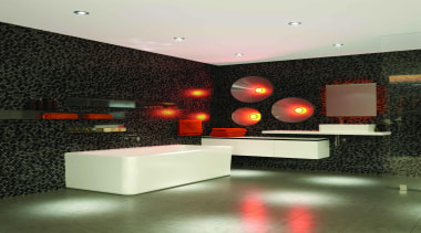 Caroma Cube Back to Wall Bath: A bath ceiling, floor, flooring, interior design, lighting, product design, table, wall, black