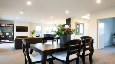 For more information, please visit www.gjgardner.co.nz dining room, home, interior design, property, real estate, room, table, gray