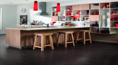 Featuring: Melteca cabinetry - Contemporary Woodgrain - cabinetry cabinetry, countertop, cuisine classique, floor, flooring, furniture, hardwood, interior design, kitchen, laminate flooring, product design, shelving, table, wood, wood flooring, black, gray