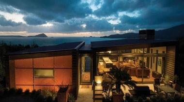 2013 ADNZ National Design Awards Winner - New architecture, cottage, estate, evening, facade, home, house, landscape, lighting, property, real estate, roof, sky, black