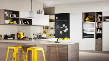 This kitchen sings of Springtime with Melteca Cinnamon countertop, cuisine classique, furniture, interior design, kitchen, product design, gray
