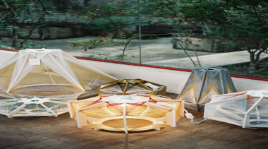 Julie Lansom has made these delightful Sputnik lamps backyard, chair, furniture, outdoor structure, table, tent, gray