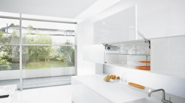 Lift Up System - AVENTOS HL - architecture architecture, home, house, interior design, property, real estate, sink, tap, white
