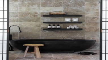 If you seek a perfect bathing experience, where bathroom, ceramic, floor, flooring, interior design, plumbing fixture, sink, tap, tile, wall, gray, black