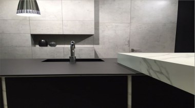 Beton Calcatta Kitchen - Beton Calcatta Kitchen - bathroom sink, countertop, floor, flooring, glass, interior design, kitchen, product design, sink, tap, tile, wall, black, gray, white