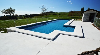Gold Award recipient for Residential Swimming Pools under backyard, daylighting, estate, house, leisure, outdoor furniture, property, real estate, roof, sunlounger, swimming pool, water, white