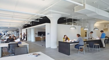 The design for renowned advertising agency Wieden+Kennedy moves ceiling, interior design, office, gray