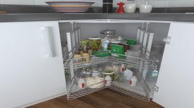 Giamo Jumbo Magic Lazy Susan Unit For Corner shelf, shelving, white, gray