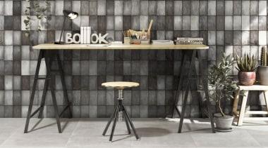 Italian made ceramic wall tiles, 100x200mm, natural finish. chair, floor, flooring, furniture, interior design, table, gray, black