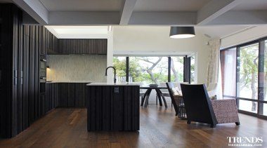 TIDA – Proudly brought to you by Kitchen ceiling, floor, flooring, hardwood, house, interior design, laminate flooring, property, real estate, room, window, wood, wood flooring, gray, black