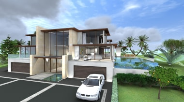 10 palm view terrace  concept hsuntitled path3.jpg architecture, building, elevation, estate, facade, family car, home, house, property, real estate, residential area, villa, teal