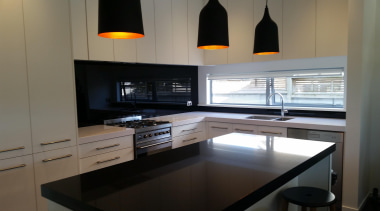 Black Standard Glass Splashback - Black - cabinetry cabinetry, countertop, interior design, kitchen, room, under cabinet lighting, gray, black