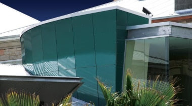 ExoTec Facade Panel - ExoTec Facade Panel - architecture, building, facade, home, house, real estate, residential area, roof, shade, siding, window, teal