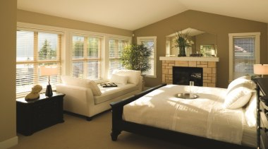 Harrisons Blinds and Shutters look great and bed frame, bedroom, ceiling, floor, home, interior design, living room, real estate, room, wall, window, window blind, window covering, window treatment, wood, brown, orange