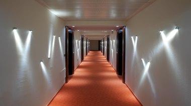 LED Lights - aisle   ceiling   daylighting aisle, ceiling, daylighting, floor, flooring, hall, interior design, light, lighting, wood, gray, red