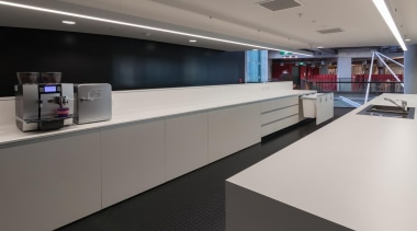 A functional, modern kitchen with a recycling system interior design, office, product design, gray, black