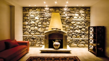 LED Lights - ceiling   fireplace   hearth ceiling, fireplace, hearth, interior design, living room, lobby, wall, orange, brown