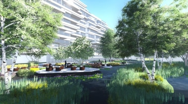 Seventh Heaven is a high-end residential development in bayou, canal, condominium, leisure, mixed use, plant, real estate, reflection, resort, tree, urban design, water, waterway, green
