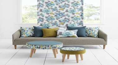 Introducing unique water colour prints in an array chair, coffee table, couch, cushion, furniture, home, interior design, living room, loveseat, sofa bed, table, white