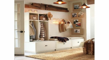 Sprucing up the entryway is definitely one thing furniture, interior design, product, shelf, shelving, white
