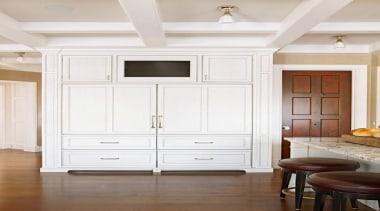 White Fridge - White Fridge - cabinetry   cabinetry, ceiling, chest of drawers, cupboard, door, floor, furniture, hardwood, home, interior design, molding, wall, window, wood flooring, wood stain, white