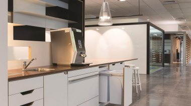 A Hideaway Bin helps to keep busy coffee cabinetry, countertop, interior design, kitchen, product design, gray