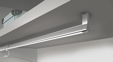 Domus Line Goccia Wardobe Hanging Rod with LED angle, daylighting, fluorescent lamp, light, light fixture, lighting, product design, gray, white