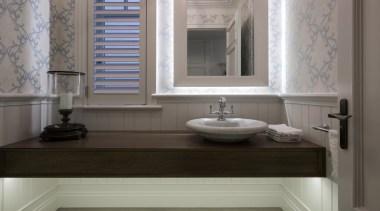 Powder room - Powder room - bathroom   bathroom, bathroom accessory, bathroom cabinet, ceramic, countertop, floor, flooring, home, interior design, plumbing fixture, room, sink, tap, tile, wall, window, wood flooring, gray