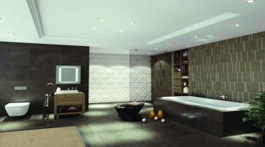 Caroma Cube Island Bath:  Dual reclining back architecture, bathroom, ceiling, floor, flooring, interior design, room, tile, wall, white, black
