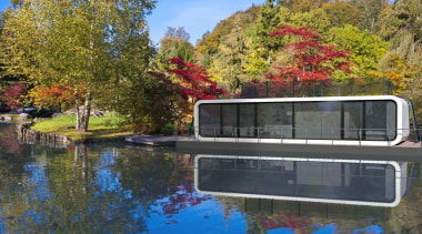 Coodo is a German mobile home modular system autumn, canal, home, house, lake, landscape, leaf, plant, pond, real estate, reflection, tree, water, waterway, brown