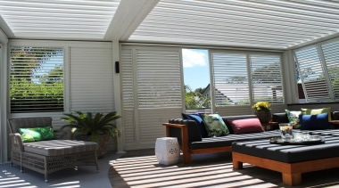 Opening Roof and Sliders to create and outdoor daylighting, deck, interior design, living room, outdoor structure, patio, real estate, roof, shade, window, window covering, window treatment, gray