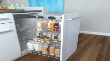Giamo's Side Mounted Pull Out unit comes in drawer, furniture, kitchen, refrigerator, shelf, shelving, gray
