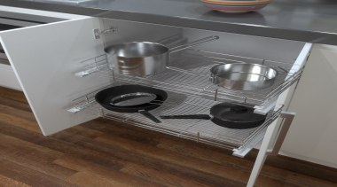 A great, practical way to keep organised in countertop, drawer, furniture, kitchen, kitchen stove, product design, small appliance, table, gray, brown