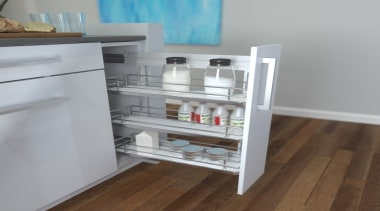 Giamo's Side Mounted Pull Out unit comes in drawer, furniture, kitchen, product, shelf, gray