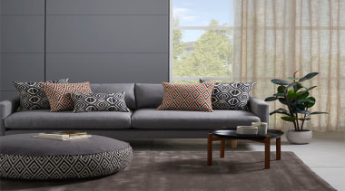 Relaxed and contemporary, Ortega is a decorative collection angle, chair, chaise longue, coffee table, couch, floor, furniture, interior design, living room, loveseat, sofa bed, table, wall, gray