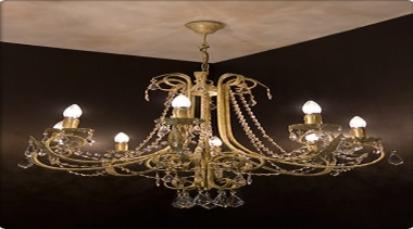 FeaturesCurved arms and gracefully scrolled leaf work draped chandelier, decor, light fixture, lighting, black, brown
