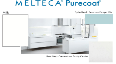 New Zealand made Melteca Purecoat surfaces utilise cutting-edge furniture, home appliance, kitchen, kitchen appliance, major appliance, product, product design, white