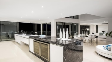 Winner Kitchen Design and Kitchen of the Year countertop, estate, interior design, kitchen, penthouse apartment, real estate, white