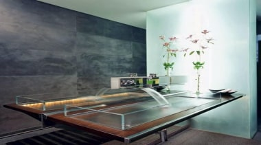 Glass trough....cleaning? or maybe self cleaning... architecture, furniture, glass, interior design, room, table, wall, gray, white, black