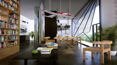 This home was designed for a retired pilot furniture, interior design, living room, loft, shelving, table, black