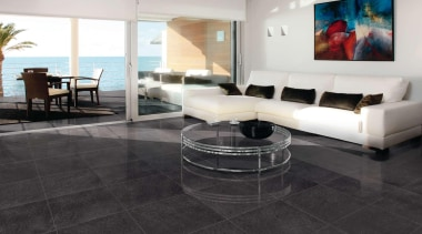 Anthracite lounge floor. - Riviera Range - coffee coffee table, floor, flooring, furniture, hardwood, interior design, laminate flooring, living room, property, real estate, table, tile, wood flooring, black, white
