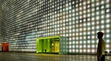 Designed by SGP Architects the GreenPix Zero Energy architecture, building, daylighting, facade, interior design, light, lighting, lobby, metropolis, metropolitan area, tourist attraction, brown