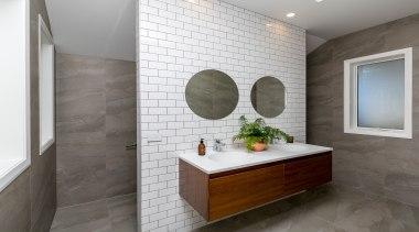 The Michel César Moode vanity looks fantastic mounted bathroom, floor, flooring, home, interior design, room, sink, tile, wall, gray